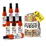The Good Hurt Fuego Hot Sauce Lover's Gift Set by Thoughtfully | A Sampler Pack of 7 Different Hot Sauces Inspired by Exotic Flavours and Peppers from Around The World
