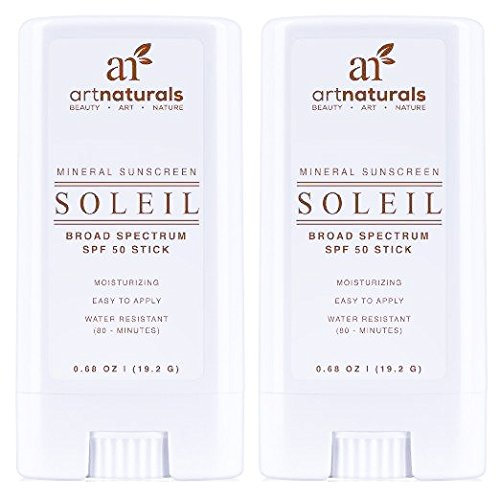 ArtNaturals Broad-Spectrum SPF-50 Sunscreen Stick - (2 x 0.7 oz) - Water Resistant 80 Minutes - Natural Ingredients - For all Skin Types - Gentle enough for Children, Kids & Babies
