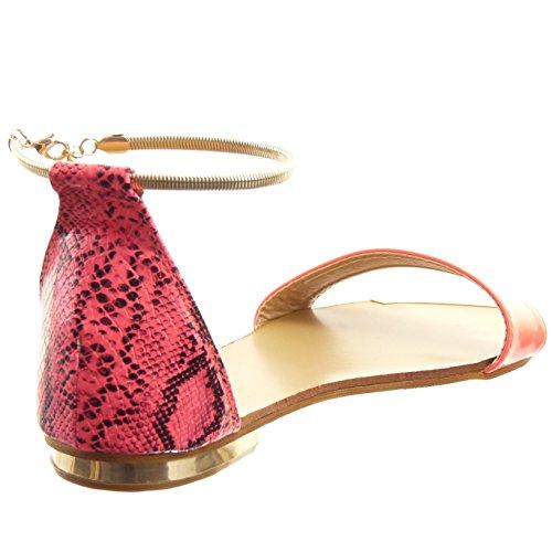 Sopily - damen Mode Schuhe Sandalen Offen glänzende Schlangenhaut - Schwarz