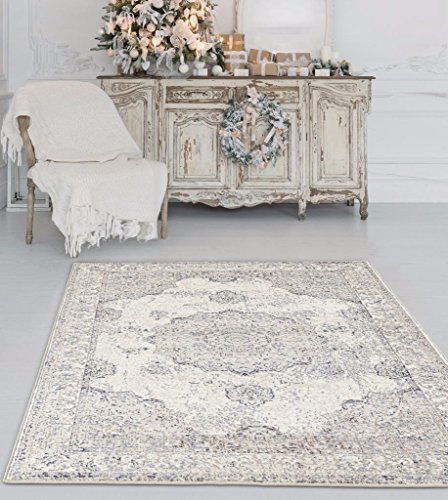 Persian-Rugs 4678 Distressed Ivory 5 x 7 Area Rug Carpet Large New - Actual size: 5 feet 2 inches Width by 7 Feet 2 inches Length Constructed with our customers in mind for a long lasting beautiful rug. Non shedding for long last value. - living-room-soft-furnishings, living-room, area-rugs - 51bkqPuGt6L -