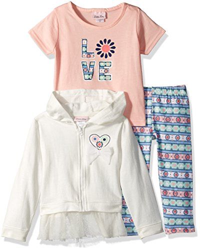 3 Piece French Terry Jacket - Little Lass Baby Little Girls' 3 Pc French Terry Jacket Set, Ivory, 5