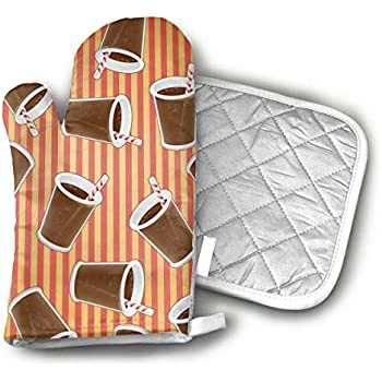 CHFSTi Oven Mitts Cup Coke Non-Slip Silicone Oven Mitts& Pot Holders, Heat Resistant to 500Fahrenheit Degrees Kitchen Oven Gloves