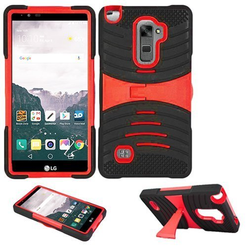 Phone Case for Straight Talk LG Stylo 2 4g LTE (Boost Mobile) / Verizon LG Stylo-2-V Rugged Heavy Duty Armor Cover Stand (Armor Black Skin-Red Stand)