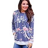 2017 NEW!Napoo Women Floral Print Pocket Hooded Sweatshirt Crop Jumper Pullover Tops (L, Blue)