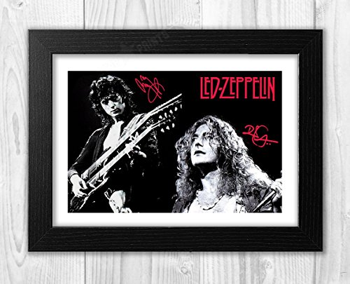 (Engravia Digital Jimmy Page & Robert Plant of Led Zeppelin Poster Signed Autograph Reproduction Photo A4 Print(Black Frame))