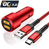 JSAUX Car Charger Compatible for Samsung Galaxy S9/S9 Plus/S8/S8 Plus/Note 9/8-3A Dual Quick Charge 3.0 Ports 36W Metal Fast USB Car Adapter with 3.3ft USB Type C to A Charging Cable Cord - Red