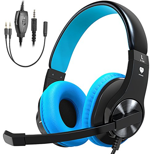 Headband Mic - Bovon Gaming Headset for PS4 Xbox One, Lightweight Stereo Over Ear Headphones with Mic, Volume Control, Noise Isolation, Adjustable Headband, 3.5mm Jack for Smart Phones Laptop PC Mac