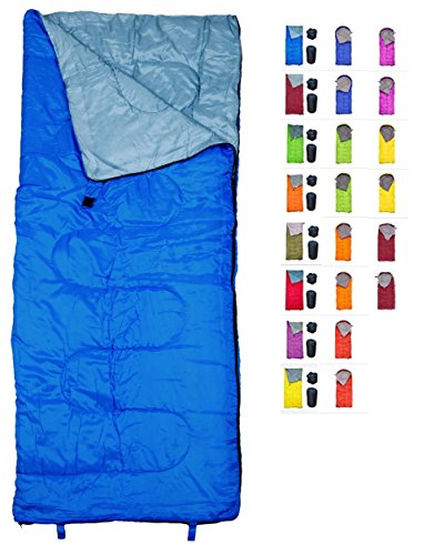 REVALCAMP Lightweight Blue Sleeping Bag Indoor & Outdoor use. Great for Kids, Youth & Adults. Ultralight and Compact Bags are Perfect for Hiking, Backpacking, Camping & Travel.]()