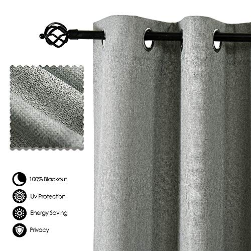 Allbright Faux Linen Curtain Panels Drapes 100% Blackout Thermal Insulated Curtains for Living Room (Set of 2 Panels, 52 x 84 Inch, Neutral Grey)