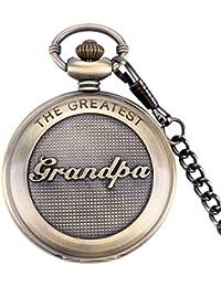 Retro Quartz Pocket Watch Japan Movement with Belt Clip Chain for Grandpa Bronze