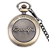 SwitchMe Retro Quartz Pocket Watch Japan Movement with Belt Clip Chain for Grandpa Bronze