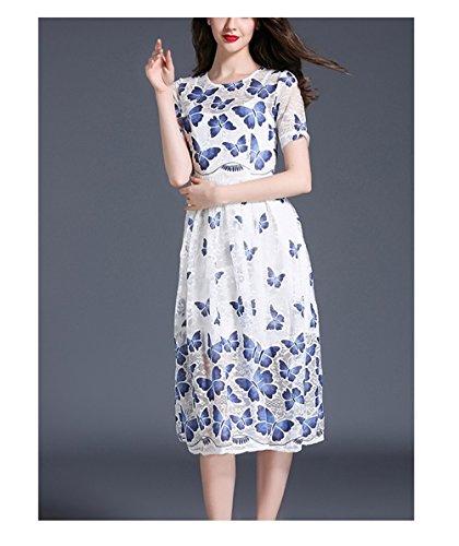 123 De Papillon Impression De Haute Taille Robe Élégante Col Rond Manches Longues Robe De Soirée À Manches Courtes Bleu