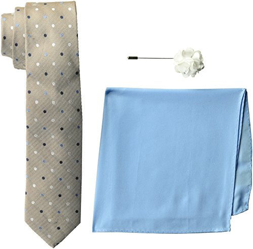 Ben Sherman Men's 100% Silk Tie with Pocket Square & Lapel Pin Gift Set, Taupe, one Size
