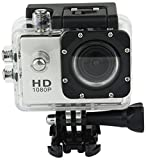 Action Camera Underwater Cam 1080P Full HD 12MP Waterproof 30m 2'' LCD 140 degree Wide-angle Sports Camera with 900 mAh Batteries and Mounting Accessory Kits (White)
