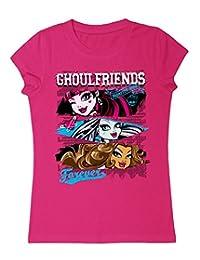 Monster High - Big Girls' Ghoulfriends Crew Neck T-Shirt, Purple