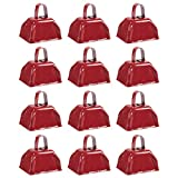 Cow Bell Set - 12-Count Loud Bells with Handles, Cowbells, Noisemaker Call Bells for Football Games, Weddings, Classroom Use, Red - 3 x 2.8 x 2.49 inches