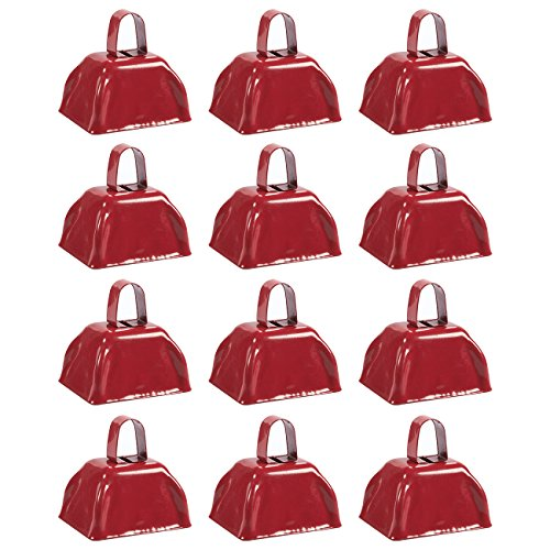 Blue Panda Cow Bell Set - 12-Count Loud Bells Handles, Cowbells, Noisemaker Call Bells Football Games, Weddings, Classroom Use, Red - 3 x 2.8 x 2.49 inches by Blue Panda
