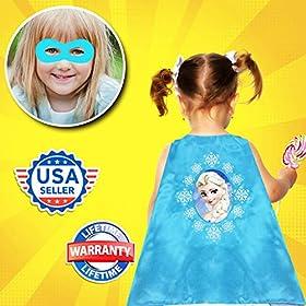 - 51bks9 ye5L - Girls Super Hero Cape and Mask Dress Up Costume