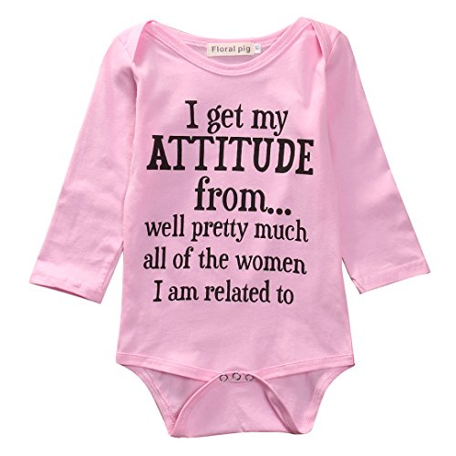 Crazy Kids Clothes (Baby Boy Girl be Careful What You say to me My Grandmas Crazy Bodysuit Funny Onesie (100 (18-24M), Pink-Long)