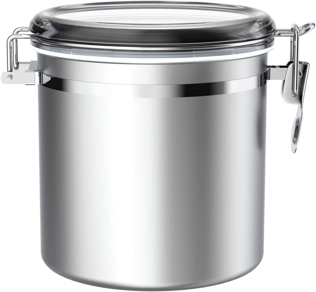 Stainless Steel Airtight Canister for Kitchen, Large Flour Coffee Bean Tea Cereal Sugar Cookie Metal Food Storage Canisters with Clear Lid and Sturdy Locking Clamp,165 oz