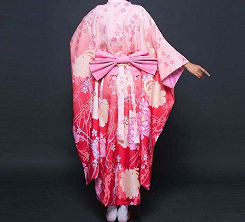 taglia Elegant vestito rosa modello accappatoio Woman Acvip stampato Kimono lungo unica giapponese multicolore wOOpq