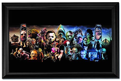 Scary Movie Collage Art Print Framed Premium Textured Wall Poster/Painting - 24x36