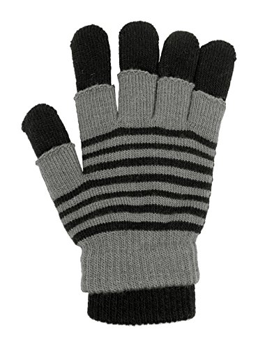 Black Striped Fingerless Gloves (LL- Adults Striped 3 in 1 Convertible Knit Fall Winter Gloves Fingerless Layer (Gray & Black))