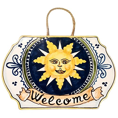 CERAMICHE D'ARTE PARRINI - Italian Ceramic Art Pottery Tile House Plaques Decorative Sun Welcome Hand Painted Made in ITALY Tuscan ()