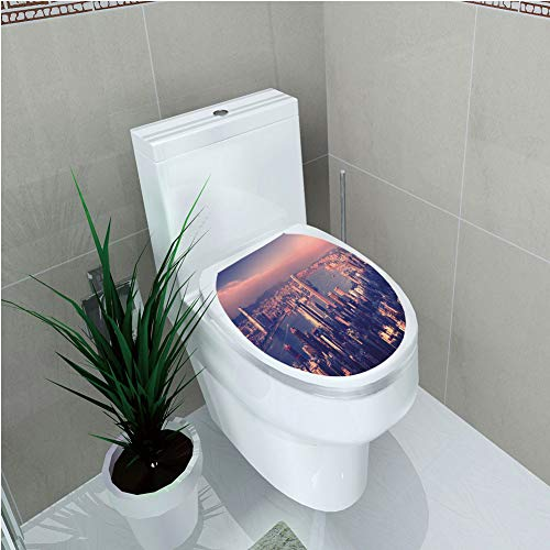 Toilet Cover Decoration,City,Dreamy View of Chinese City Hong