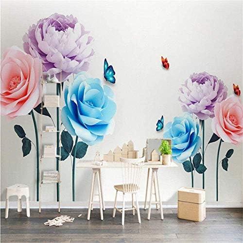 Bosakp 壁の壁紙3Dモダンなミニマリストのピンクの蝶の背景装飾壁紙ホテルのリビングルームの壁画 100X50Cm