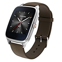 """ASUS ZenWatch 2 Android Wear Smartwatch - 1.63"""", Silver case with Brown rubber band"""