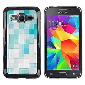 MOBMART Carcasa Funda Case Cover Armor Shell PARA Samsung Galaxy Core Prime - Green And White Tile Pattern