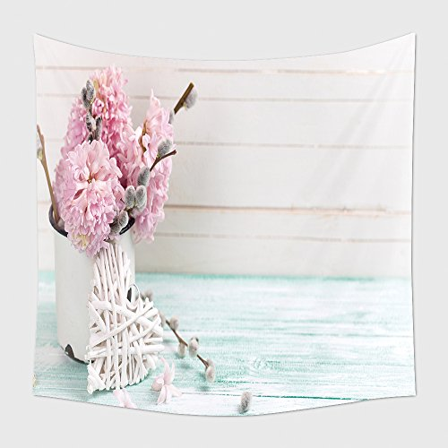 Home Decor Tapestry Wall Hanging Background With Hyacinths Willow Flowers In Aged Mug And Decorative Heart On Turquoise Painted for Bedroom Living Room Dorm