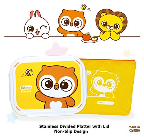 Edison Smart Stainless Divided Platter with Lid, Stainless Steel Divided Bento Lunch Box Plate for Babies, Toddlers and Kids, BPA free plate (Yellow-Owl) (Small Plate Owl)