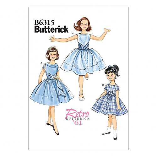 - Butterick Girls Easy Sewing Pattern 6315 Vintage Style Pleated Cummerbund Dresses