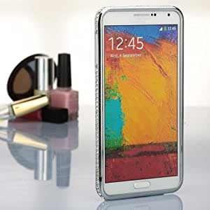 Luxury Diamond Bling-Bling Crystal Metal Bumper Case Cover For Samsung GALAXY Note III 3 N9000 (Sliver)