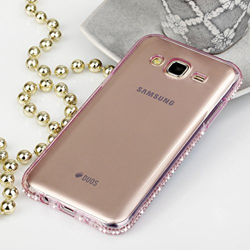 EGO® TPU Schutzhülle Strass Case Diamant für Samsung Galaxy J5 Pink Transparent Luxus Glitzer Matt Tasche Kristall Case Back Cover Weich Silikon Ultra Dünn Steine Kristall Hülle Glänzend Bling