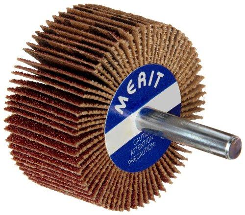 "Merit Flexible Mini Grind-O-Flex Abrasive Flap Wheel, Round Shank, Aluminum Oxide, 3"" Dia., 1"" Face Width, Grit 80, 20000 Max RPM (Pack of 10)"