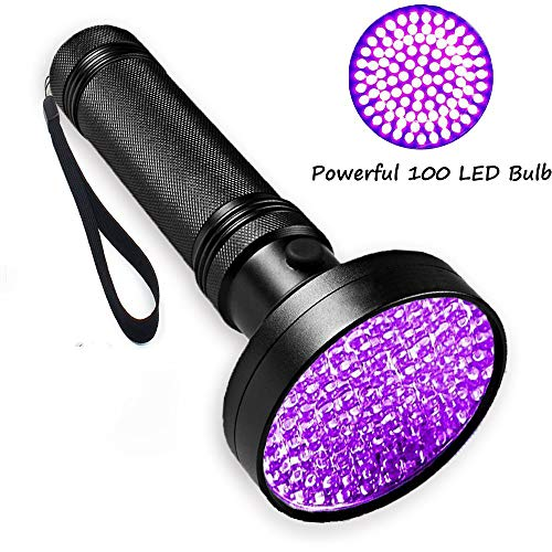 SHELY UV Flashlight UV Light 100 LEDs Pet Dog Cat Urine Stains Scorpion Bed Bug Detector Light and authenticate Currency Cosmetic Ultraviolet Black Lights Inspection