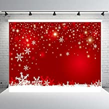 7x5ft Red Winter Photography Backdrops Customized Snowflake Photo Studio Background Props Christmas