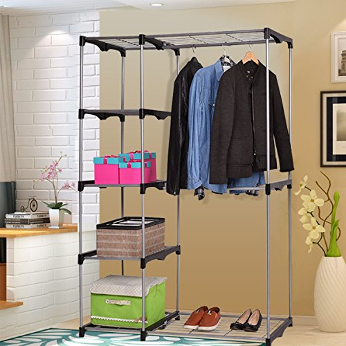 Concise And Practical Double Rod Shelf Wardrobe Garment Hanger Storage Rack Closet Help Organize Your Clothes, Shoes, Bags In Perfect - Uk Code Promo Warehouse