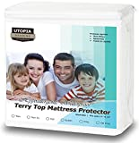 Premium Hypoallergenic Waterproof Mattress Protector - Vinyl Free - Fitted Mattress Cover (Twin) by Utopia Bedding