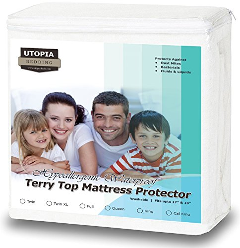 Premium Hypoallergenic Waterproof Mattress Protector - Vinyl Free - Fitted Mattress Cover (Queen) by Utopia Bedding (Bedding Queen Mattress)