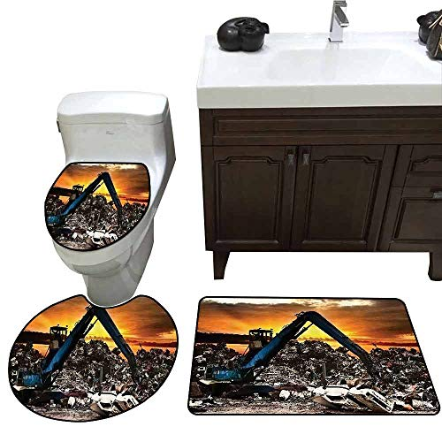 U-Shaped Toilet Floor Rug Set Industrial Decor Collection Car Recycling to The Dump Dramatic Scene at The Sunset Crane Junkyard Image Pattern Rug Set Orange Navy Blue Ivory