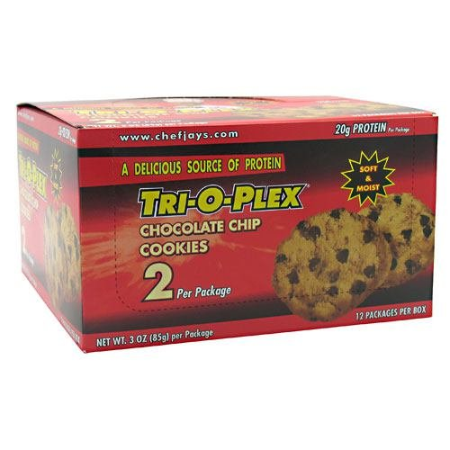 Chef Jay's Tri-O-Plex Cookies - Chocolate Chip - Box of 12 Packages - 2 Cookies Each (3oz -85g per package)