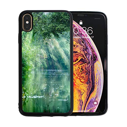 (Scenery in The Primitive Rainforest iPhone Xs Max Case Screen Protector TPU Hard Cover with Thin Shockproof Bumper Protective Case for Apple iPhone Xs Max 6.5 Inch)