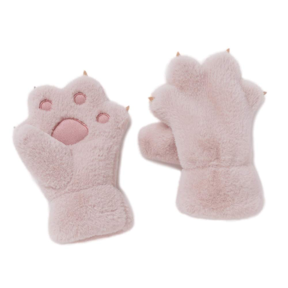SPRRC Childrens Plush Bear Paw Gloves Autumn and Winter Boys and Girls Kindergarten Plush Plus Velvet Thickening Cute Cartoon Warm Mittens 5-8 Years Old Kids