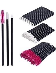 eBoot 150 Pieces Disposable Lip Brushes Eyeliner Brushes Eyelash Mascara Brushes Makeup Tool Kits (Rose Red)