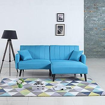 Mid-Century Modern Linen Fabric Futon Sofa Bed, Living Room Sleeper Couch (Sky Blue)