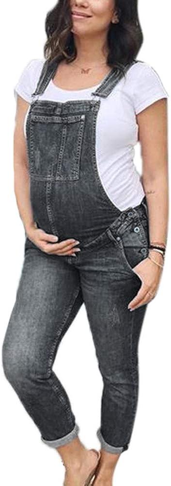 huateng Mujeres Embarazadas Jeans Monos Maternidad Moda Babero Monos Peto Pantalones de Mezclilla